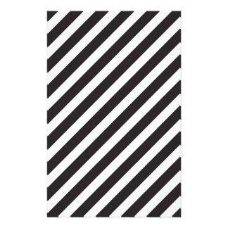 Arc Stripes Diagonal Black & White Pattern Stationery