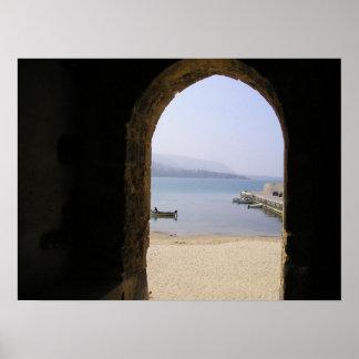 Arcada a la orilla, Cefalu Italia Poster