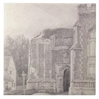 Arcada del sur de la torre arruinada de Bergholt d Azulejo Cuadrado Grande