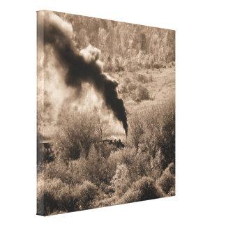 Arcade-Attica Steam Engine (Sepia) Wrapped Canvas