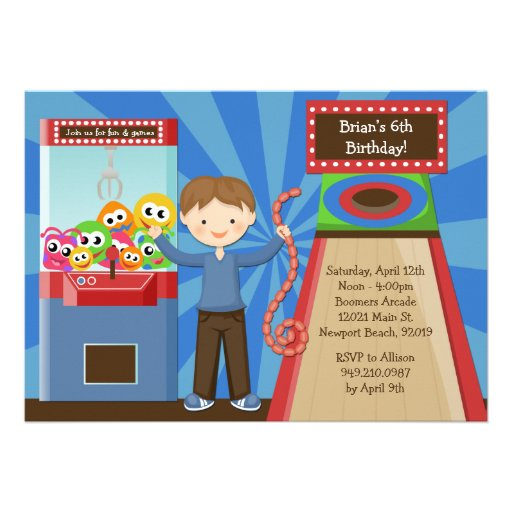 Personalized Arcade game Invitations CustomInvitations4Ucom
