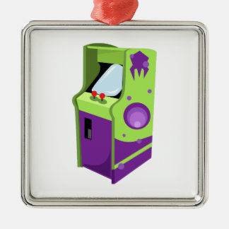Arcade Game Square Metal Christmas Ornament