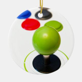 Arcade Joystick Double-Sided Ceramic Round Christmas Ornament