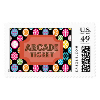 Arcade Ticket Multi Colored Postage Stamp