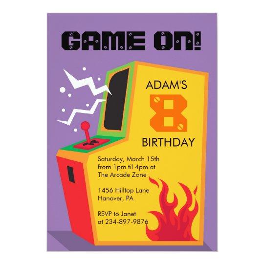 Arcade Video Game Birthday Party Invitations Zazzlecom