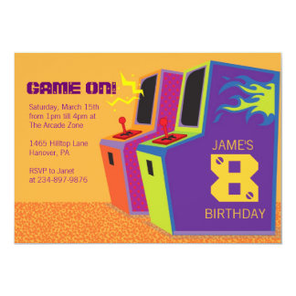 Arcade Video Game Birthday Party Invitations
