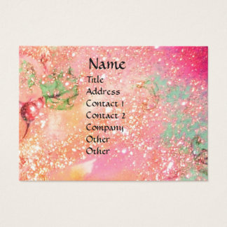 ARCADIA  / MAGIC GOLD FLORAL SPARKLES  Pink Green Business Card