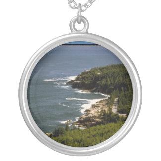 Arcadia National Park shoreline Round Pendant Necklace