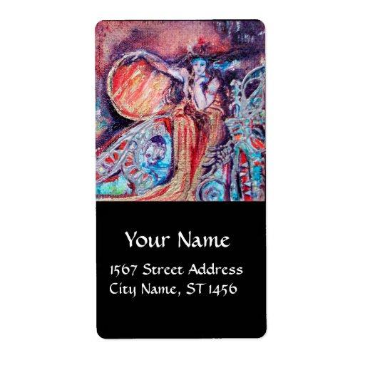 ARCADIA, oro rosado rojo del negro azul Etiqueta De Envío