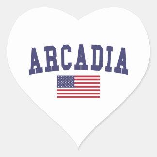 Arcadia US Flag Heart Sticker