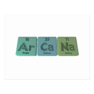 Arcana-Ar-Ca-Na-Argon-Calcium-Sodium Postcard