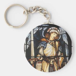 Arcángel del vintage, San Miguel de Burne Jones Llavero Redondo Tipo Chapa