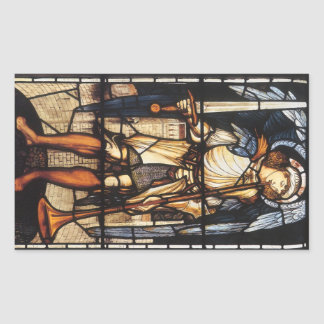Arcángel del vintage, San Miguel de Burne Jones Pegatina Rectangular