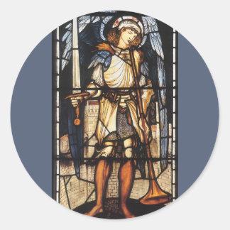 Arcángel del vintage, San Miguel de Burne Jones Pegatina Redonda