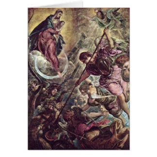 Arcángel Michael y Satan de Jacopo Tintoretto Tarjeta De Felicitación