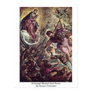 Arcángel Michael y Satan de Jacopo Tintoretto Tarjetas Postales