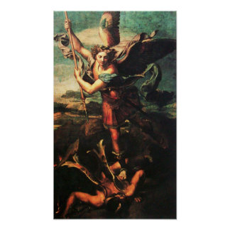 ARCÁNGEL VANGUISHING SATAN de San Miguel Póster