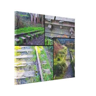 Arcata sigue el collage #1 (negro-alineado) impresión en lienzo