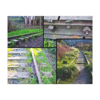 Arcata Tracks Collage #1 (black-lined) Canvas Print