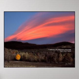 Arce ardiendo en la puesta del sol: Poster de la l