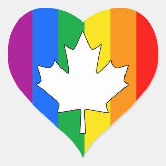 ARCE CANADIENSE DEL ORGULLO GAY CALCOMANIA DE CORAZON PERSONALIZADAS