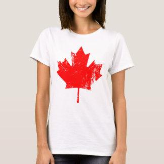 Arce de la bandera de Canadá del Grunge - rojo Playera