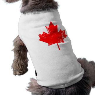 Arce de la bandera de Canadá del Grunge - rojo Playera Sin Mangas Para Perro