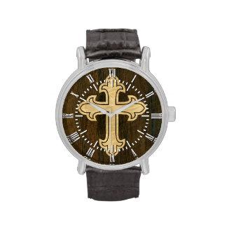 Arce Fleury cruzado cristiano de madera en el palo Reloj