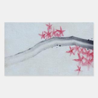 Arce japonés pegatina rectangular