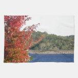 Arce rojo del otoño, punta de flecha azul del lago toallas de cocina