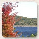 Arce rojo del otoño, punta de flecha azul del lago posavaso