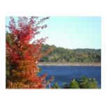 Arce rojo del otoño, punta de flecha azul del lago postal