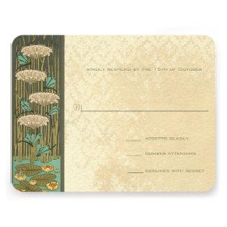 Arch Art Nouveau Dragonfly Lilypad Response Card Custom Invitations