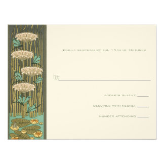 Arch Art Nouveau Dragonfly Lilypad Response Card Personalized Announcements
