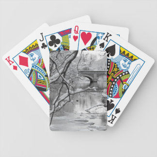 Arch Bridge over Frozen River in Winter Bicycle Playing Cards