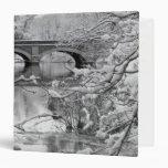 Arch Bridge over Frozen River in Winter Vinyl Binders