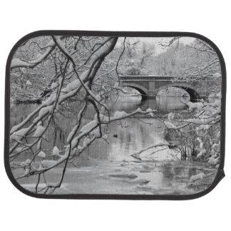 Arch Bridge over Frozen River in Winter Car Floor Mat