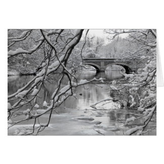 Arch Bridge over Frozen River in Winter Card