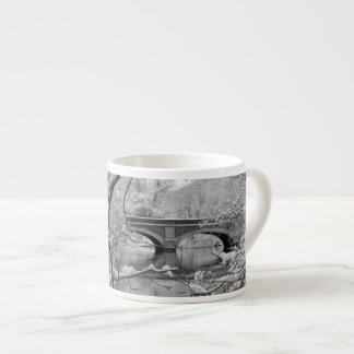Arch Bridge over Frozen River in Winter Espresso Cup