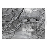 Arch Bridge over Frozen River in Winter Greeting Card