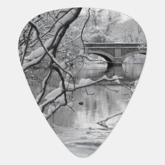 Arch Bridge over Frozen River in Winter Guitar Pick