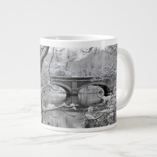 Arch Bridge over Frozen River in Winter Large Coffee Mug