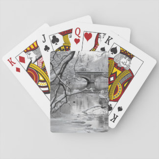 Arch Bridge over Frozen River in Winter Playing Cards