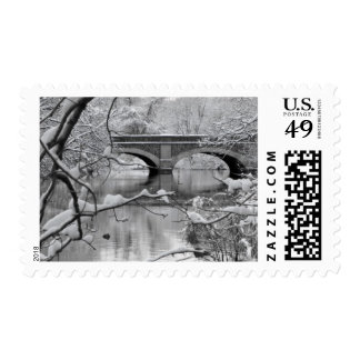 Arch Bridge over Frozen River in Winter Postage