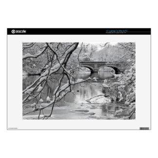 Arch Bridge over Frozen River in Winter Skins For Laptops