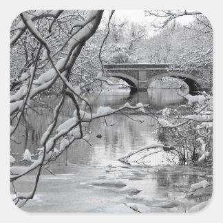 Arch Bridge over Frozen River in Winter Square Sticker