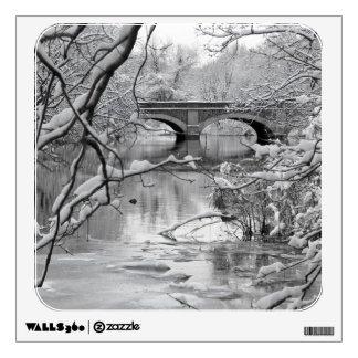Arch Bridge over Frozen River in Winter Wall Skin