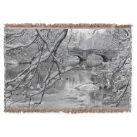 Arch Bridge over Frozen River in Winter Throw Blanket
