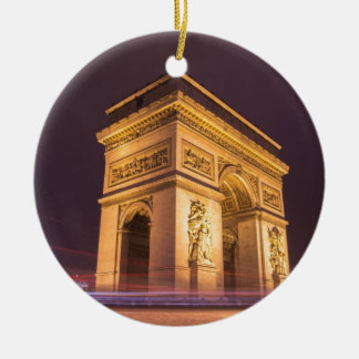 arch de triomphe in paris, france at night ceramic ornament