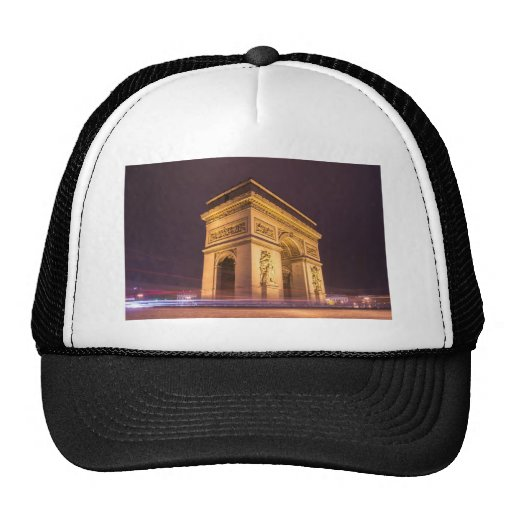 arch de triomphe in paris, france at night mesh hat